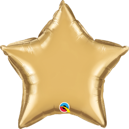 Star Shaped Gold Chrome Foil Helium Balloon